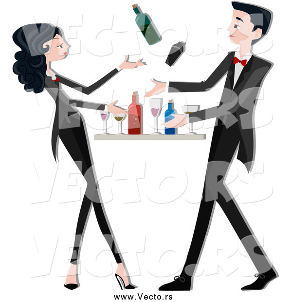Vector of a Young Bartender Couple Mixing Drinks