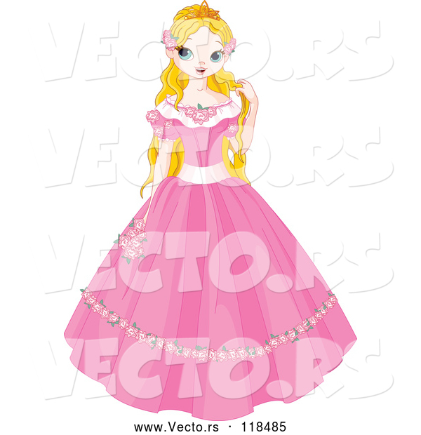 Vector of a Young Cartoon Fairy Tale Princess in a Pink Dress