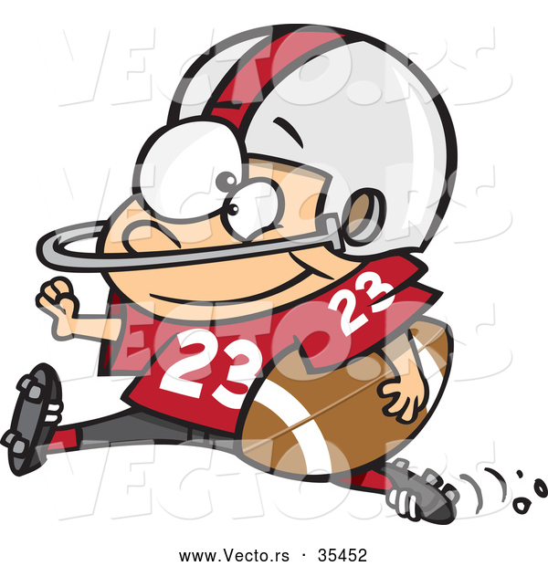 Vector of a Young Cartoon Football Halfback Charging Forward with the Ball