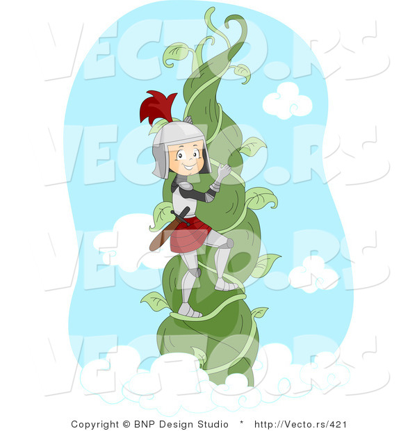 Vector of a Young Cartoon Knight Climbing to the Top of a Beanstalk Vine