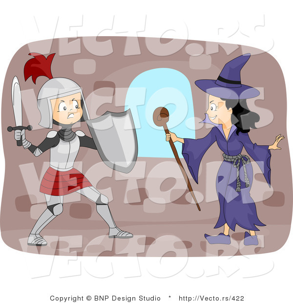 Vector of a Young Cartoon Knight Fighting a Witch