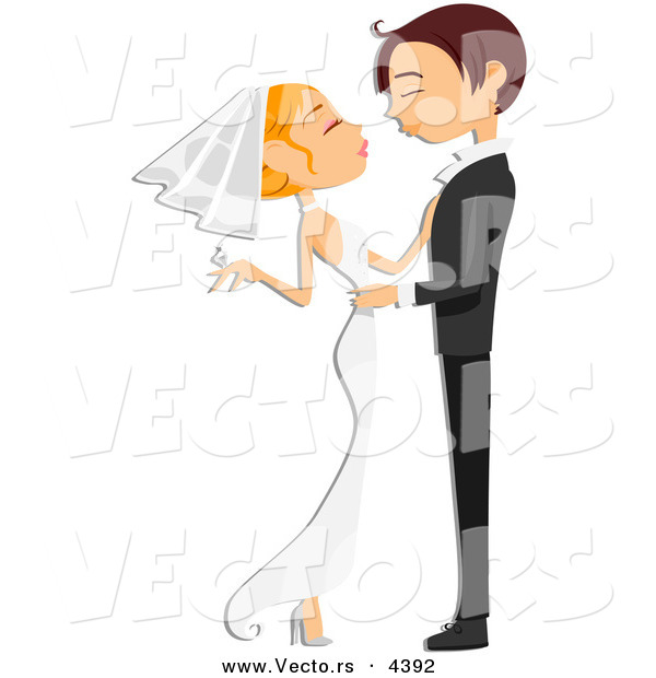Wedding Altar Cartoon: Vector Of A Young Cartoon Wedding Couple Embracing And