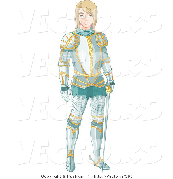 Vector of a Young Knight Wearing Aqua Colored Armor with Gold Trimming