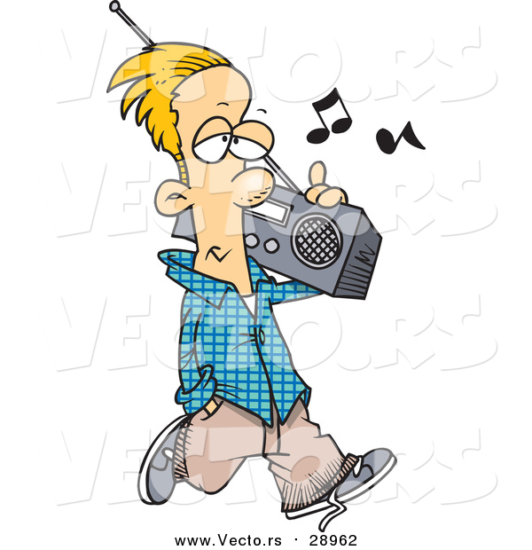 Vector of a Young Man Listening to an Old Boom Box While Walking - Cartoon Style