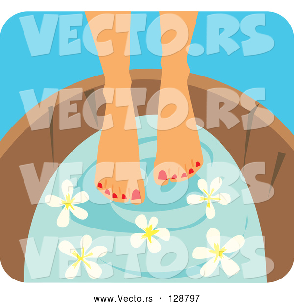 Vector of a Young Woman Soaking Her Feet in a Tub with Flowers