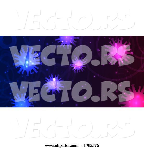 Vector of Abstract Banner Design with Virus Cells Depicting Covid 19 Pandemic