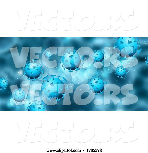 Vector of Abstract Medical Banner with Covid 19 Virus Cells
