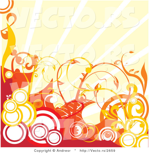 Vector of Abstract Red with Orange Circles and Vines Against Sunshine Rays - Background Design