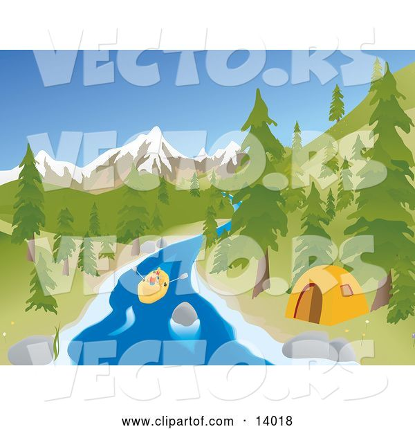 Vector of Active Young Couple Rafting down a River past a Tent at a Camp Site with Mountains in the Background