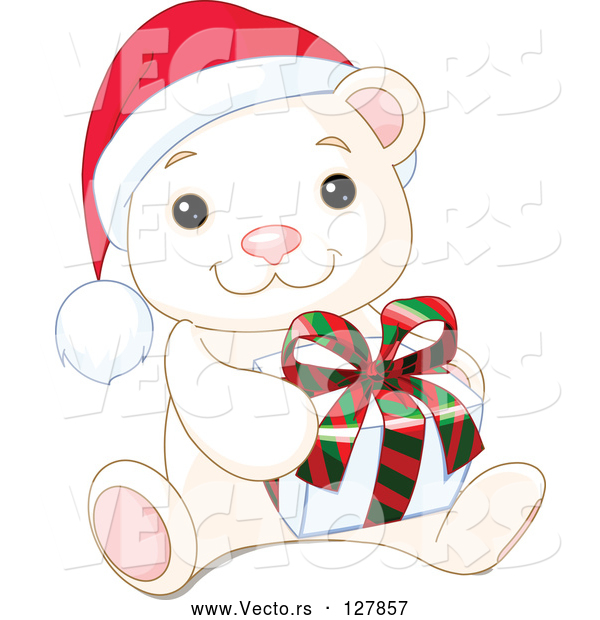 Vector of Adorable Baby Polar Bear Wearing a Santa Hat and Holding a Christmas Gift