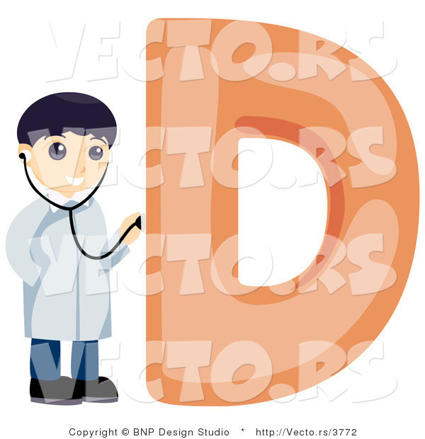 Vector of Alphabet Letter D with a Doctor Boy