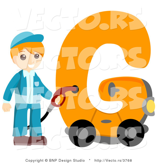 Vector of Alphabet Letter G with a Gas Station Attendant Boy