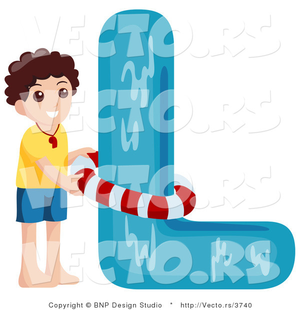 Vector of Alphabet Letter L with a Lifeguard Boy