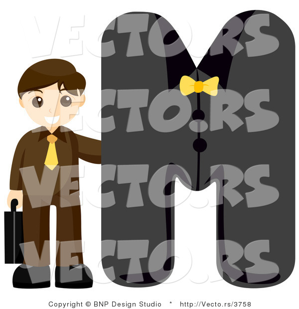 Vector of Alphabet Letter M with a Businessman Boy