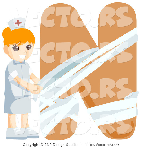 Vector of Alphabet Letter N with a Nurse Girl
