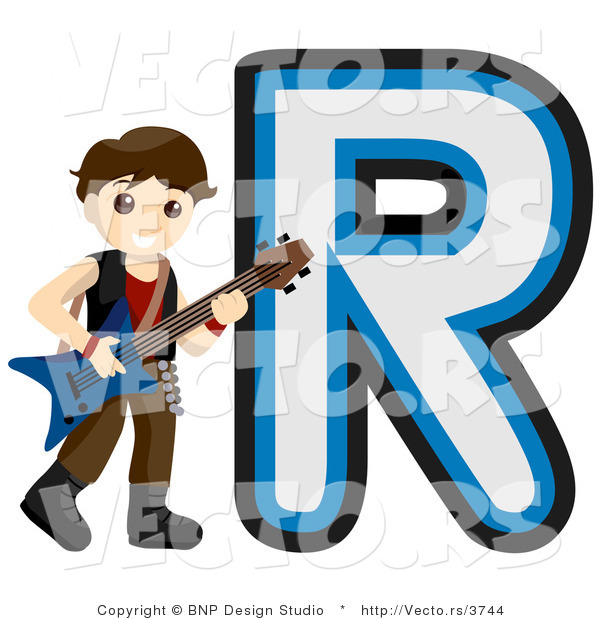 Vector of Alphabet Letter R with a Rock Star Boy