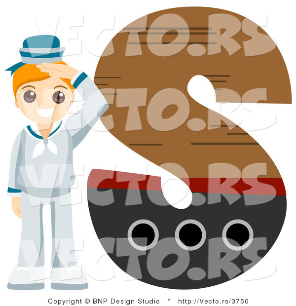 Vector of Alphabet Letter S with a Sailor Boy