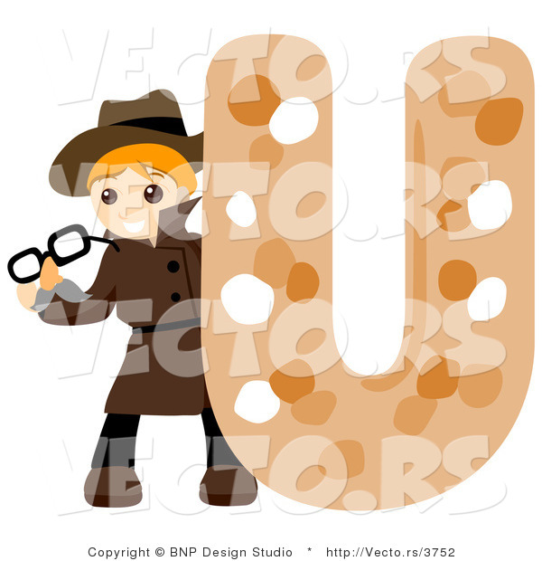 Vector of Alphabet Letter U with an Undercover Agent Boy