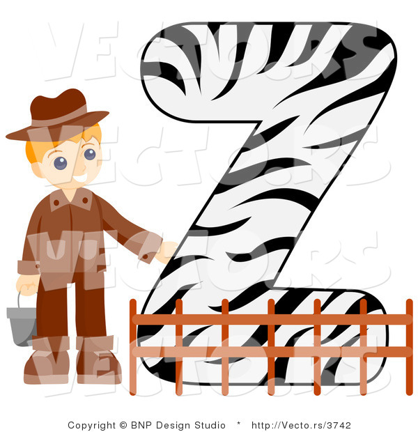 Vector of Alphabet Letter Z with a Zookeeper Boy