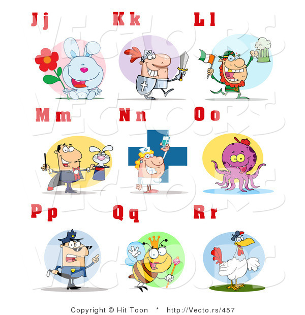 Vector of Alphabet Letters with People and Characters - J Through R