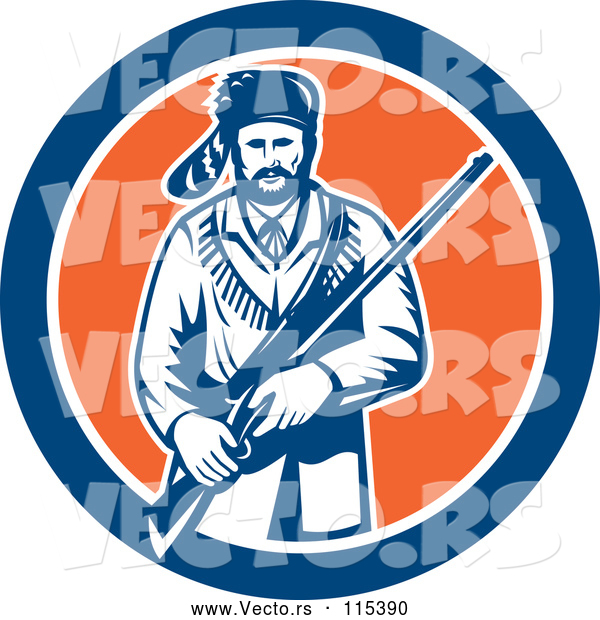 Vector of American Frontiersman, Davy Crockett, Holding a Rifle in a Blue White and Orange Circle