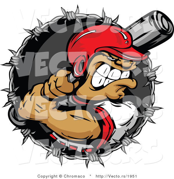 Vector of an Aggressive Batter Preparing to Strike Baseball Within Barbed Wire Icon - Cartoon Design