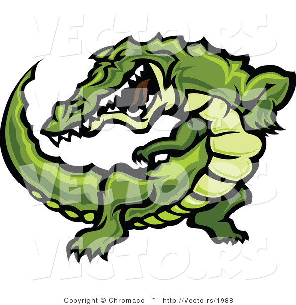 Vector of an Aggressive Cartoon Alligator Raising up During an Attack