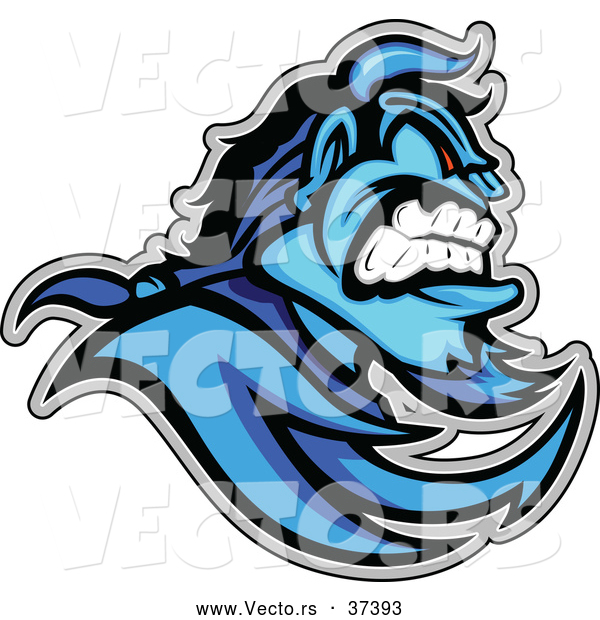 Vector of an Aggressive Cartoon Blue Demon Mascot with ViscousFacial Expression