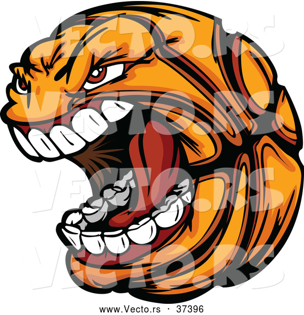 Vector of an Aggressive Cartoon Screaming Basketball Mascot