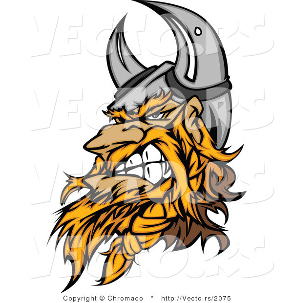 Vector of an Aggressive Cartoon Viking Warrior Mascot Wearing Horns While Gritting His Teeth