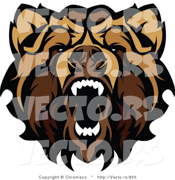 Vector of an Aggressive Growling Grizzly Bear Mascot