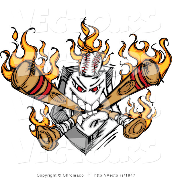 Vector of an Aggressive Home Plate Eating Flaming Baseball Bats and Ball