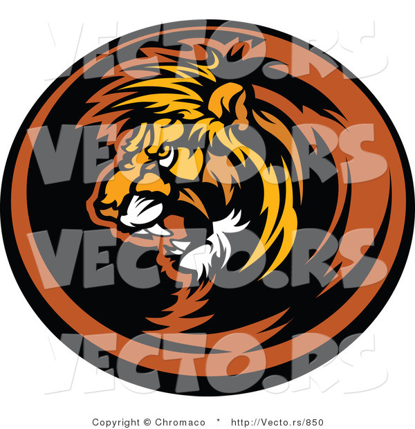 Vector of an Aggressive Lion Mascot Roaring Within Circle Icon