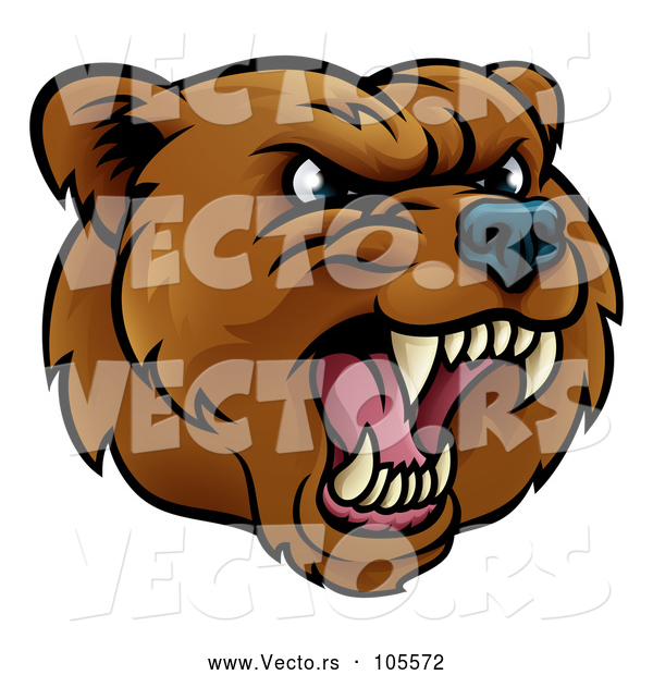 Vector of an Aggressive Rival Cartoon Grizzly Bear Mascot Growling