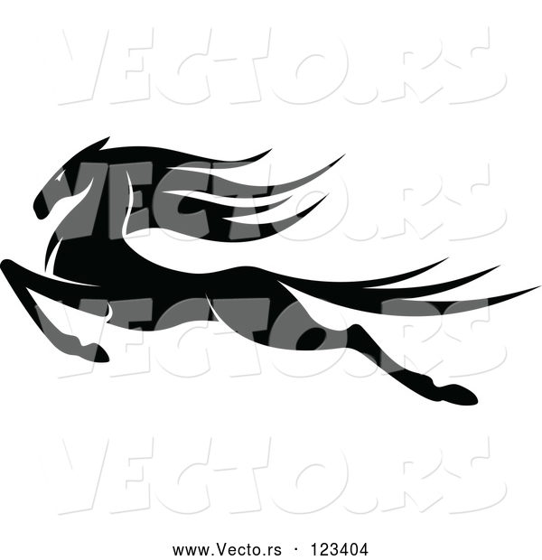 Vector of an Aggressively Leaping Black Horse