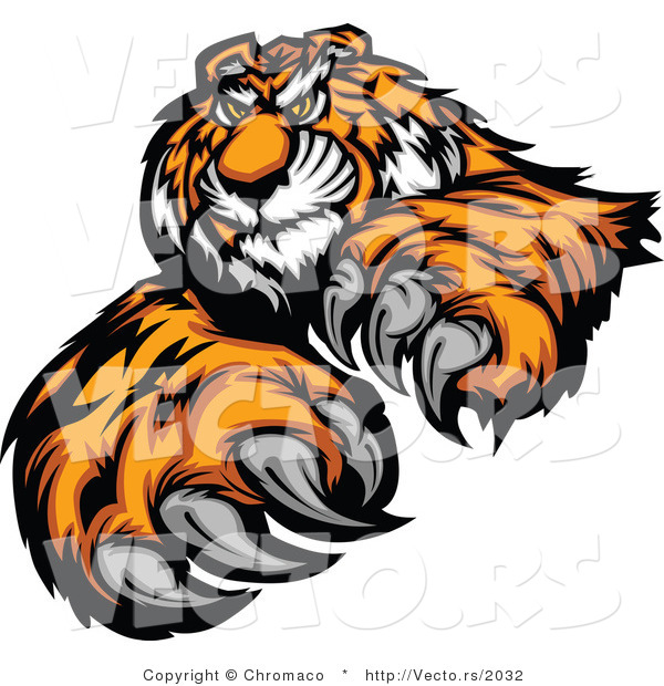 Vector of an Alpha Cartoon Tiger Mascot Grinning and Staring with Intimidating Eyes