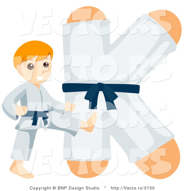 Vector of an Alphabet Letter K with a Karate Boy