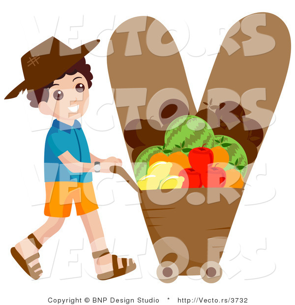 Vector of an Alphabet Letter V with a Veggie Farmer Boy