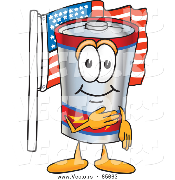 Vector of an American Cartoon Battery Mascot Pledging Allegiance