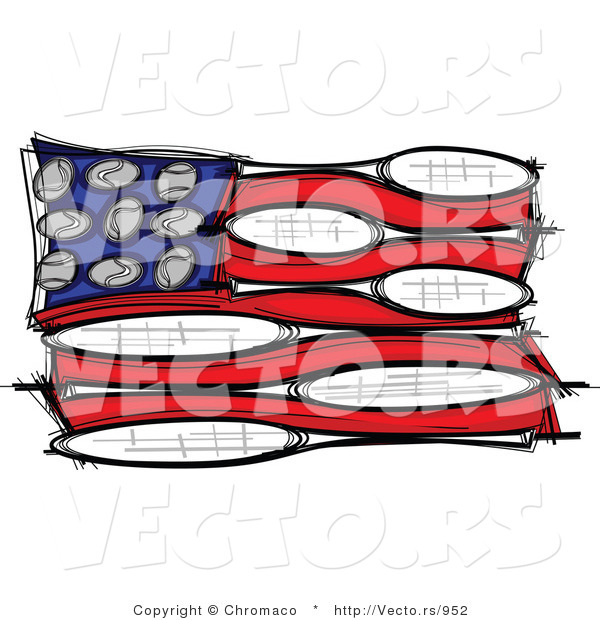 Vector of an American Flag Made of Tennis Balls and Rackets
