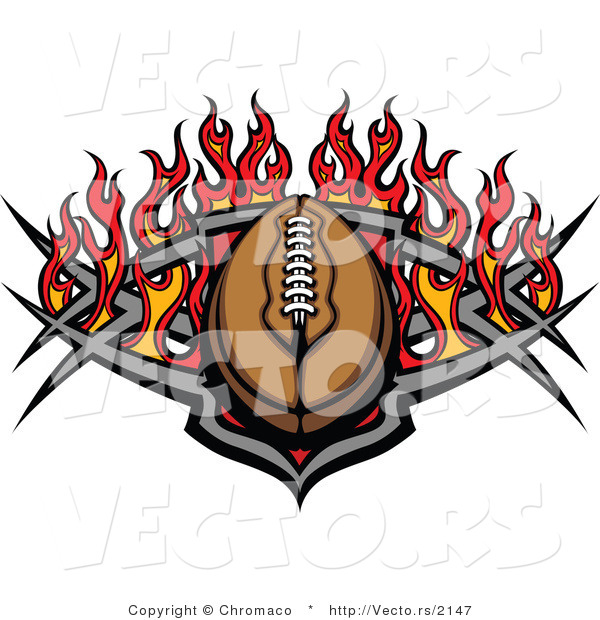 Vector of an American Football with Tribal Designs and Flames