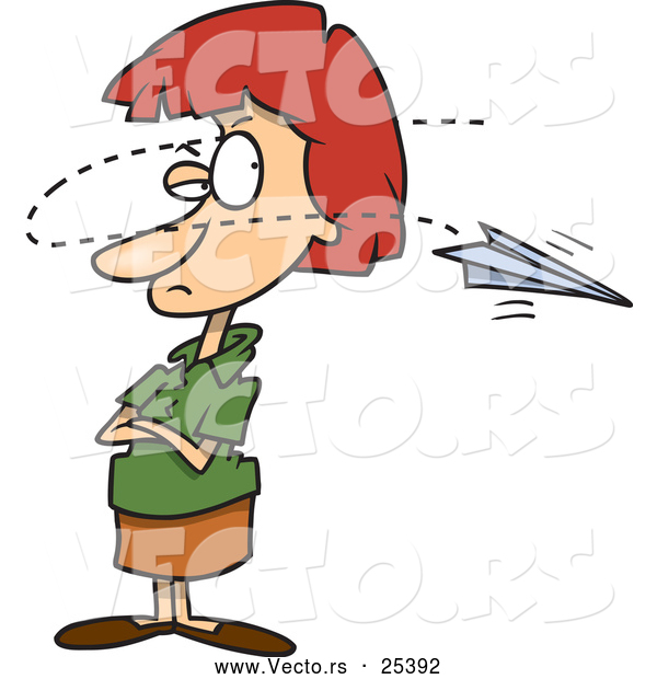 Vector of an Annoyed Cartoon Woman Distracted by a Paper Airplane Flying in Front of Her Face