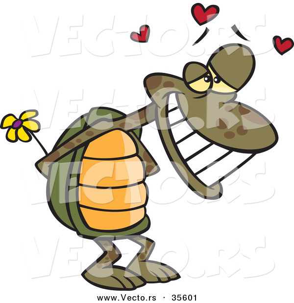 Vector of an Enamored Cartoon Turtle Smiling While Hiding a Yellow Flower Behind His Shell with Love Hearts Floating Above His Head
