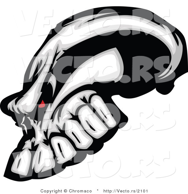 Vector of an Evil Human Skull with Red Eyes