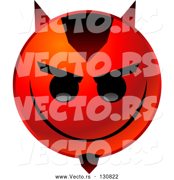 Vector of an Evil Red Emoticon with Devil Horns and Goatee
