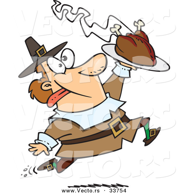Vector of an Excited Cartoon Pilgrim Man Running with a Hot Turkey on a Serving Tray