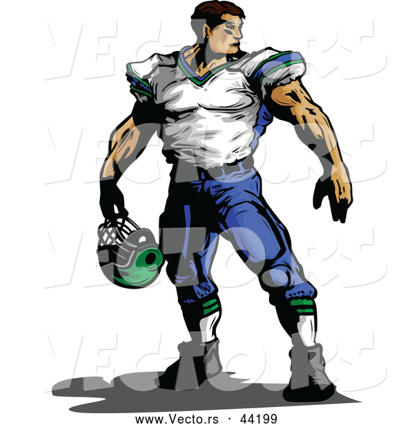 Vector of an Imposing Cartoon Football Player Holding His Helmet While Looking over His Shoulder