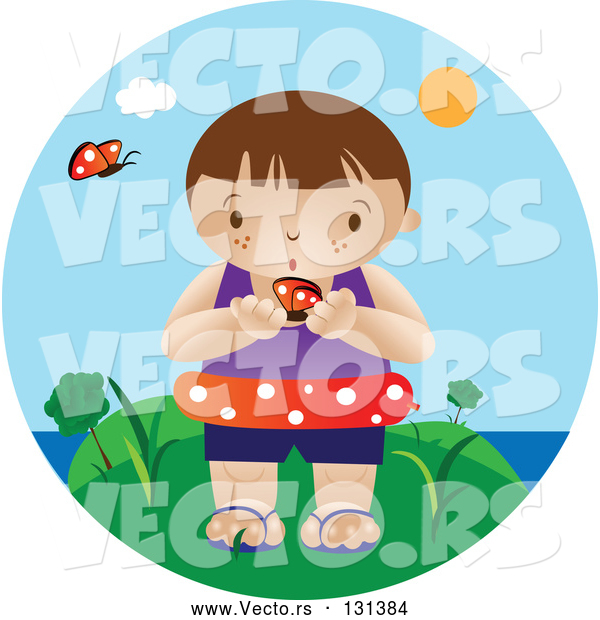 Vector of an Interested Boy Wearing an Inner Tube and Holding a Butterfly While Standing near the Beach on a Hot Summer Day
