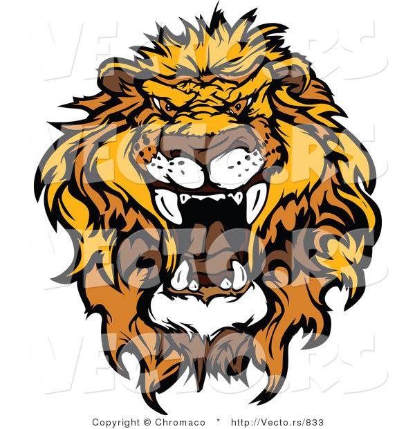 Vector of an Intimidating African Lion Roaring