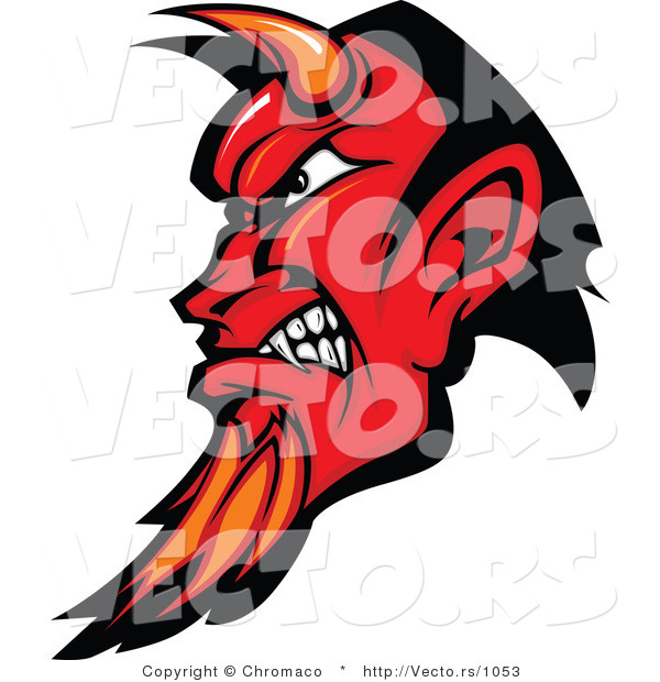 : Vector of an Intimidating Red Devil with Horns and Goatee, Gritting Teeth